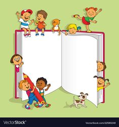 Group of children Royalty Free Vector Image - VectorStock Teacher Cartoon, Cartoon Kids, Drawing For Kids, Art For Kids, School Border, Kindergarten Coloring Pages, Page Borders Design, School Frame, School Images