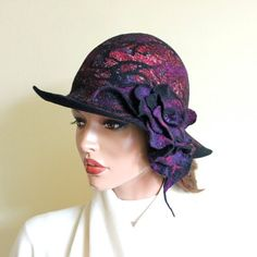 Hey, I found this really awesome Etsy listing at https://www.etsy.com/listing/222539687/black-purple-wine-red-hat-felted-hat