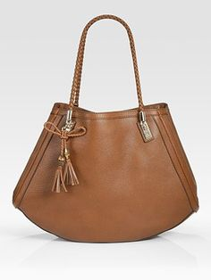 I love the shape and I love the braided detail.  But no way those straps could hold the laptop.  Still a beautiful bag.  I'd love it in a funky color.
