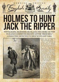 Holmes Hunts Jack The Ripper Books Poster Print Sherlock Holmes Book, Sherlock Bbc, Poster S, Poster Prints, Jack Ripper, Vintage Newspaper, Victorian London, Arte Horror, Old London