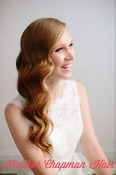 Bridal hair.  Sideswept waves.  Wedding hair.  Hollywood glam hair.  Featured on Gent & Beauty.  Photography:  K. Mari Photography.  MUA:  Kata Baron.  Styled by Maria Socha.  Model:  Melanie Harper