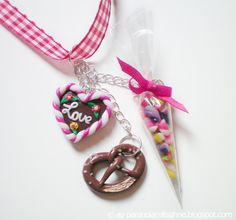 German Oktoberfest Necklace with Gingerbread Heart, Pretzel and Candy Cone Pendant. €35.00, via Etsy.