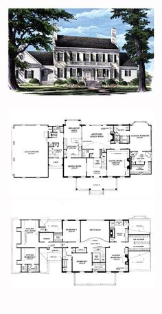 Plantation House Plan 86287 | Total Living Area: 4263 sq. ft., 5 bedrooms, 5 full bathrooms and 2 half baths. #plantationhome