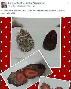 """Pessoal olha que legal a ideia da Larissa . Ela usou o brigadeiro Low Carb para fazer """"coxinhas"""" recheadas com morango e parece que deu super certo! . Ensinamos a fazer esse brigadeiro em http://ift.tt/28KbDqe - te esperamos lá! . . #senhortanquinho #paleo #paleobrasil #primal #lowcarb #lchf #semgluten #semlactose #cetogenica #keto #atkins #dieta #emagrecer #vidalowcarb #paleobr #comidadeverdade #saude #fit #fitness #estilodevida #lowcarbdieta #menoscarboidratos #baixocarbo #dietalchf…"""