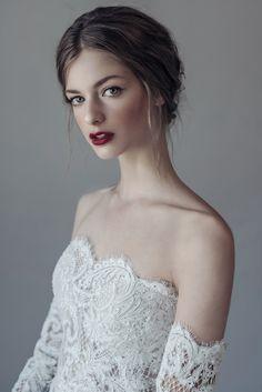 Nora Sarman / The Bartok top and the Bartok skirt /  Two piece wedding gown, made of French lace and silk organza #bridal #bridalgown #twopiece #twopieceweddingdress #weddingdress #bohobride #bride #indiebride #menyasszony #menyasszonyiruha #esküvőiruha
