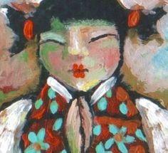 Geisha Angel Kokeshi Praying Doll Original ACEO by CampbellJane