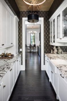 Pantry Kitchen Ikea Island 60 Best Images Pantries Doors Contemporary Boasts A Gold Leaf Ceiling Displaying Set Of Black Leather Drum Pendant Lights Highlighting Stunning And Geometric