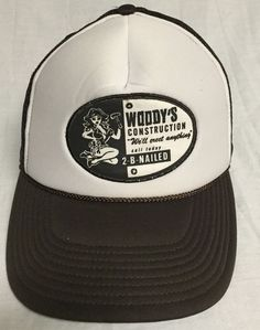 Woodys Construction We ll Erect Anything Trucker Style SnapBack Cap Hat  Snaps  NA   c62fac2d1cab