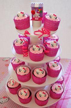 Hello Kitty cupcake tower