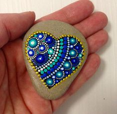 Small Heart Dot Art Mandala Painted Stone Fairy Garden Gift