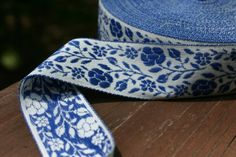 Vintage BLUE and WHITE Floral Jacquard Fabric by TreasureBayFabric, $2.99