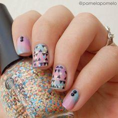 pastel geometric nail art - nails - manicure - tribal
