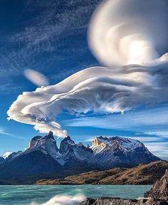 Sky Art ~ Lenticular Clouds, Chile Landscape Photography, Nature Photography, Amazing Photography, Lenticular Clouds, Torres Del Paine National Park, Destinations, Sky Mountain, Mountain Village, Sky Landscape