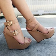 Natural Faux Leather Double Ankle Strap Wedges