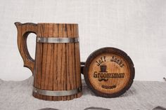 Set of 2 Personalized Wooden Beer Mugs 0.7 l (23oz),Bottom engraving, natural wood,tankard, groomsmen gift, Father's day, tankard, Dad