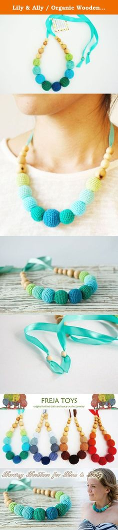 Lily & Ally / Organic Wooden Crochet/ Beaded Teething (Nursing) Necklace Ocean Blue. Perfect baby shower gift!! This colorful and fun to wear natural necklace is a must-have for every breastfeeding & babywearing mommy or just for those who loves nature and everything natural. It is made with crochet covered beads and juniper wood beads. These have a very light smell of freshness, unique pattern, and also very popular as aromatherapy oil. Completely safe for baby to chew on. The necklace...