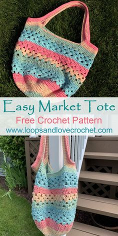 Easy Market Tote - Free Crochet Patterns Loops & Love Crochet The Easy Market for .Easy Market Tote - Free Crochet Loops and Love Crochet The Easy Market Tote is the perfect bag to take Crochet Beach Bags, Free Crochet Bag, Crochet Purse Patterns, Crochet Market Bag, Crochet Motifs, Crochet Tote, Crochet Handbags, Crochet Purses, Crochet Crafts