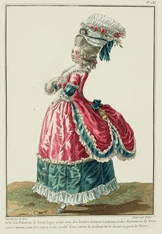Polonaise of light Satin, trimmed with bands of other Colors, and Gauze Trims.  Cap à tuyaux, belted with a rolled ribbon, attached with a Brilliant rosette on the front and trimmed with Flowers. (1780)