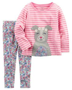 f38ca1580ec7 2-Piece Jersey Top & Floral Legging Set Carters Baby Girl Clothes, Baby