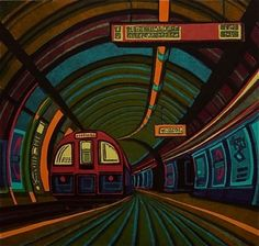 "Gail Brodholt - ""Going Underground"", linocut. You can see more of her work on her website: http://www.gailbrodholt.com/Home.html"