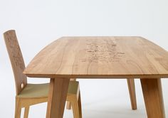 FINN Tisch / table / sixay 2013. Laser engraved graphic by Kata Szép.