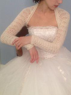 Long Sleeve Bridal wedding shrug in ivory by LuvinglyMade on Etsy, $100.00