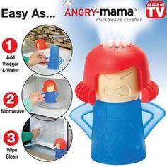 Angry Mama reinigt jede Mikrowelle zuverlässig. Durch das erhitzen von Essig und Wasser im inneren wird schmutzlösender Dampf freigesetzt, der die Mikrowelle befeuchtet und sie leichter reinigen lässt.
