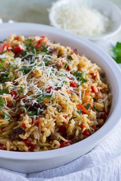 Use gluten free Orzo with Italian Sausage and Peppers . It is a filling and quick meal - done in under 30 minutes! This is perfect for kids *and* adults! Recipes With Italian Sausage And Peppers, Sausage Peppers And Onions, Sweet Italian Sausage, Italian Recipes, Stuffed Peppers, Italian Dishes, Peppers Pizza, Orzo Pasta Recipes, Rice Recipes