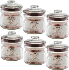 Set Of 6 Kilner Vintage Air Tight Push Top Glass Preserving Storage Jars Storage Jars, Vintage Air, Spice Jars, Spices, Amazon, Glass, Kitchen, Top, Decor