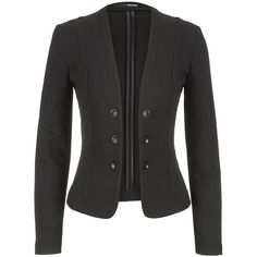 maurices Textured Knit Military Blazer In Black ($33) ❤ liked on Polyvore featuring outerwear, jackets, blazers, black, long sleeve blazer, maurices, black military jacket, open front jacket and black blazer