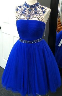 high neck homecoming dresses, royal blue homecoming dresses, beaded homecoming dresses, short homecoming dresses @veenrol