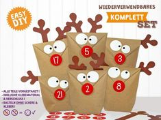 """Austria & Switzerland days Cuddly DIY Advent Calendar """"Elk"""" The set for ratzfatz self-making contains everything you need to make! The perfect craft fun for big & small. Christmas Crafts For Adults, Christmas Time, Christmas Gifts, Xmas, Christmas Ideas, Diy Advent Calendar, Calendar Ideas, Advent Calendars, Reindeer"""
