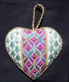 Pretty needlepoint heart ornament by Marnie Ritter