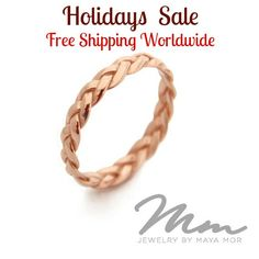 *** HOLIDAY SALE - FREE SHIPPING ***  Braided 14K Rose Gold Plated Ring, 100% Top quality Materials, 100% handcrafted for each and every customer.  I love minimalism and this is a keeper! One of my simple rings, great for everyday. It is your true Etsy jewelry, plaited and braided completely by hand. It makes a great alternative marriage ring.  ★PRODUCT DETAILS★ > This Braided Rose Gold Plated Ring is handcrafted by me, using only top quality 14k Rose gold Plated Sterling Silver > The Gold…