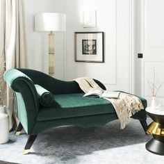 Melania Chaise Lounge Color: Emerald - http://delanico.com/chaise-lounges/melania-chaise-lounge-color-emerald-751532614/