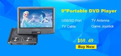 9 inch Portable DVD Player EVD Swivel Screen USB SD Card Earphone TV FM 3 Hour Rechargeable Battery VCD CD MP3 MP4 DVD Player
