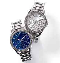 Instant Classic Embellished Watch- Round silver tone ladies bracelet watch with a glass stone embellished bezel. Rhinestone hour markers and faux chronographs on your choice of silver or blue sunray dial. Regularly $39.99, buy Avon Jewelry online at http://eseagren.avonrepresentative.com