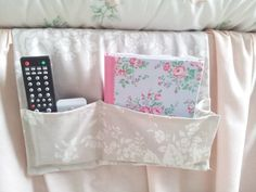 Remote caddy bed caddy remote control holder or by clarashandmade, Remote Caddy, Remote Control Holder, Bed Caddy, Bed Pocket, Bed Organiser, Sewing Projects, Sewing Ideas, Retro Ideas, Recycled Crafts
