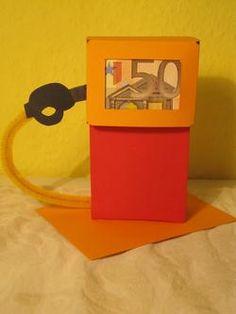 Tanksäule Geldgeschenk von  Geldgeschenke-basteln.de