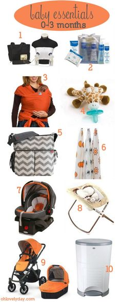 Newborn baby essentials 0-3 months | Lovely Ever After on ohlovelyday.com, breast pumps, baby wearing, stroller, bassinet, swaddle blankets, diaper bag, diaper trash can, soothie, and bath supplies. Super helpful for future reference