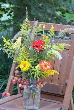 Rustic mason jar late summer arrangement