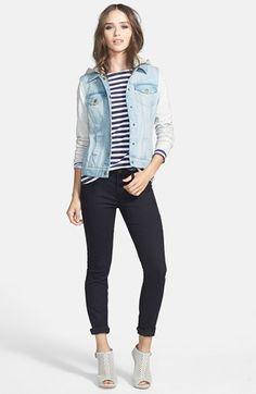 Hinge Terry Sleeve Denim Jacket & J Brand Super Skinny Jeans  available at #Nordstrom