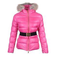 Women Moncler Pink Lightweight Hooded Waist Padded Jacket