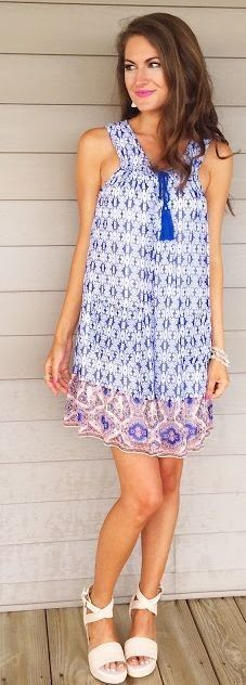 #spring #summer #style #outfits | Patterned Tassel Dress