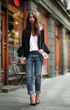 ACNE Valarie top, Acne jeans, Saint Laurent pumps and Angel Jackson purse