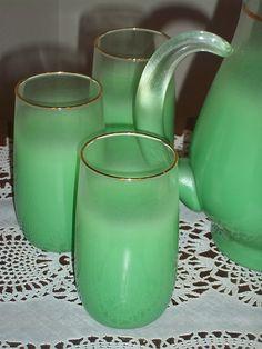 Vintage green blendo pitcher and glasses.