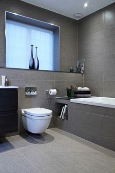 badezimmer modern einrichten graue fliesen weiße badmöbel grifflos ... | {Badmöbel modern grau 54}