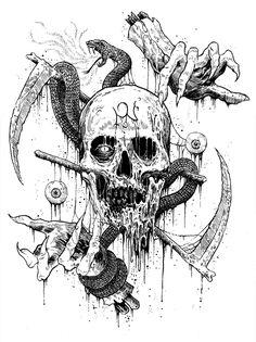 The Art of Mark Riddick<br> Creepy Drawings, Dark Art Drawings, Halloween Drawings, Creepy Art, Cool Drawings, Skull Tattoos, Body Art Tattoos, Sleeve Tattoos, Black Tattoos