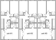 triplex house plans, small townhouse plans, triplex house plans