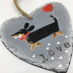 Black and Tan valentine Dachshund. Hand painted slates of love ❤